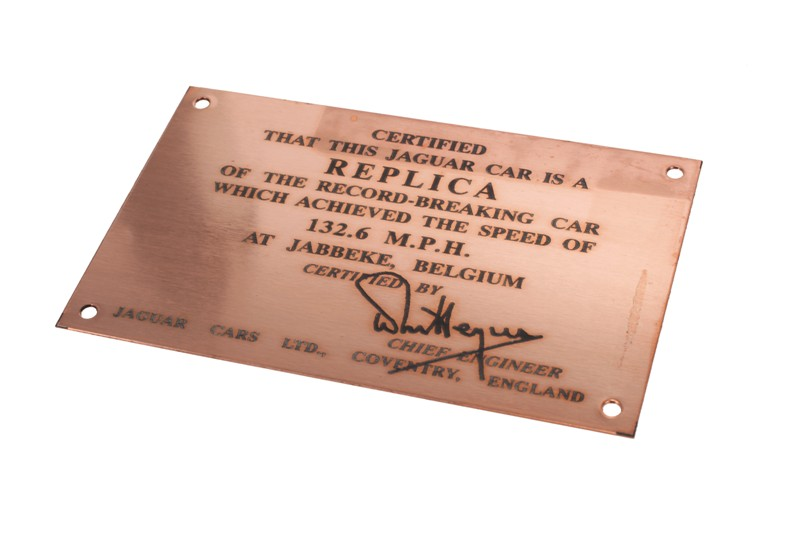 SNG Barratt: Jaguar XK120 dashboard plaque ID0023